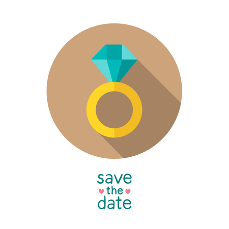 wedding ring: Diamond wedding ring, modern flat style  round vector icon, save the date card design template