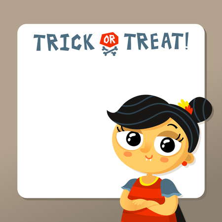 carnival costume: Cute Halloween vector greeting card or party invitation template with vampire girl in carnival costume and copy space for text Illustration