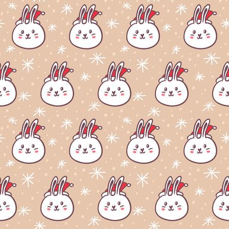 conejo: Conejos con sombreros de Santa Claus, lindo vector patrón sin fisuras en el fondo cubierto de nieve