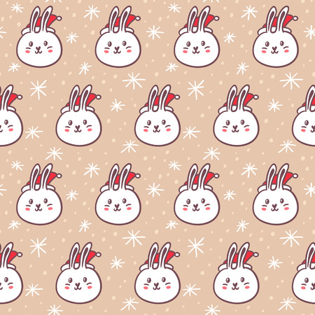 Rabbits wearing Santa's hats, cute vector seamless pattern on snowy background
