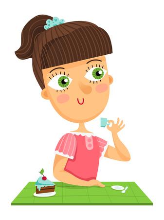 茶髪: Cute brown hair girl sitting by the table drinking cup of coffee, vector character isolated on white  イラスト・ベクター素材