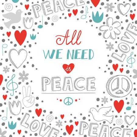 paloma de la paz: doodle del amor del vector blanco y fondo del tema de la paz con cita sobre la paz, la mano linda letras dibujado