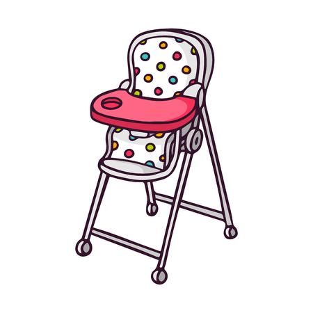 baby on chair: Baby feeding chair, bright vector children illustration of cute high baby chair for feeding isolated on white