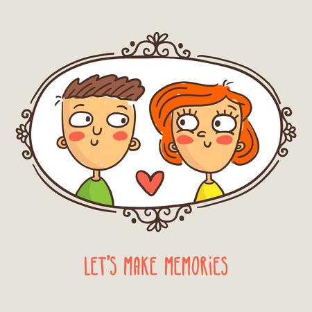사랑에 만화 커플, 사랑스러운 자막, 낙서 캐릭터와 귀여운 벡터 발렌타인 데이 인사말 카드 디자인 템플릿 액자 사진 일러스트