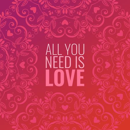 lace: Hermoso fondo abstracto con el ornamento mandala y cita sobre amor, rom�ntica tarjeta plantilla de dise�o del d�a de San Valent�n Vectores