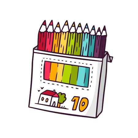 Lápices de colores, ilustración vectorial de niños brillantes de linda caja de lápices de colores aislados en blanco