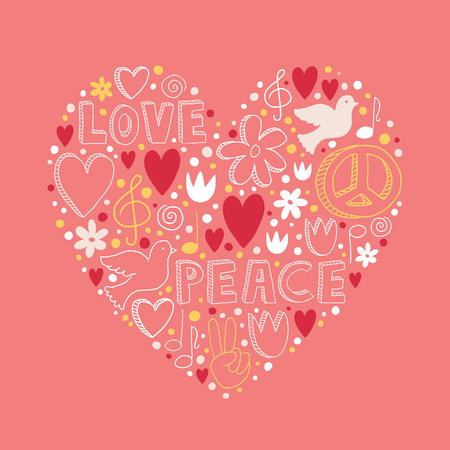 pacifist: Vector doodle elements on love and peace theme in heart shape on light pink background Illustration