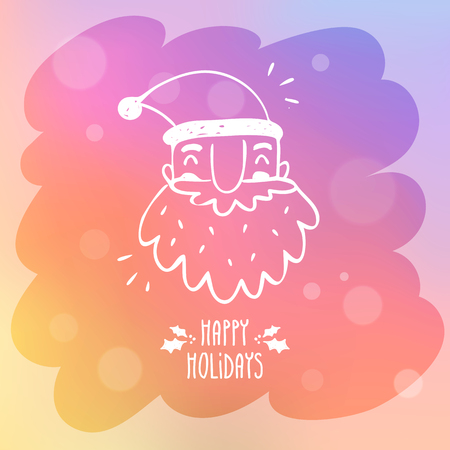 misted: Sketchy Santa Claus on misted window glass with bokeh and holiday greetings, cute vector Christmas and New Year greeting card background design template Illustration