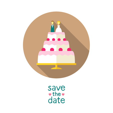 bride and groom illustration: Wedding cake with bride and groom figures on top, modern flat style round vector icon, save the date card design template