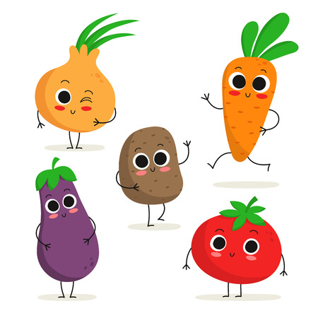 personages: Adorable collection of five cartoon vegetable characters isolated on white: onion, eggplant, potato, carrot, tomato Illustration