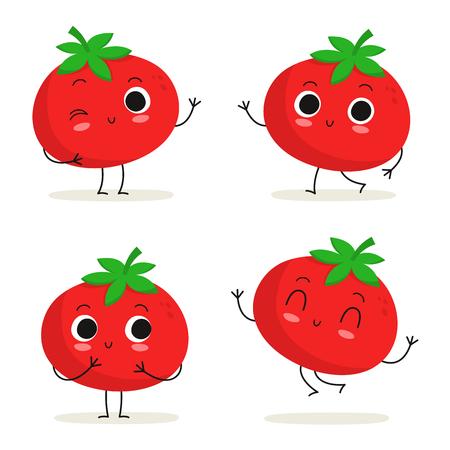 토마토. 귀여운 야채 벡터 문자 집합 흰색으로 격리 일러스트