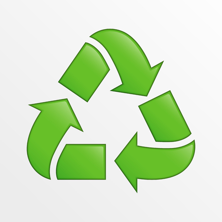 green environment: Cute vector recycle icon, green creative illustration on light gray background, ecology and environment theme element
