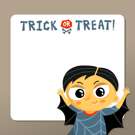 costume party: Cute Halloween vector greeting card or party invitation template with vampire boy in carnival costume and copy space for text Illustration