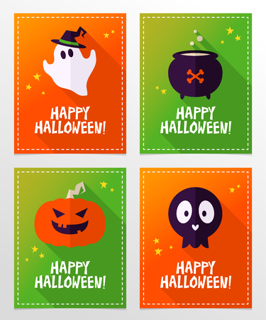 card designs: Set of vector Halloween greeting card designs with ghost, skull, cauldron and pumpkin in flat style with long shadows, stars and holiday wishes