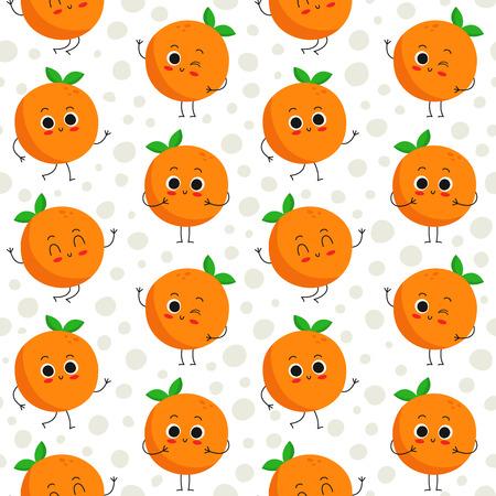 Naranjas, vector sin patrón con simpáticos personajes de la fruta en el fondo de puntos Foto de archivo - 47837231