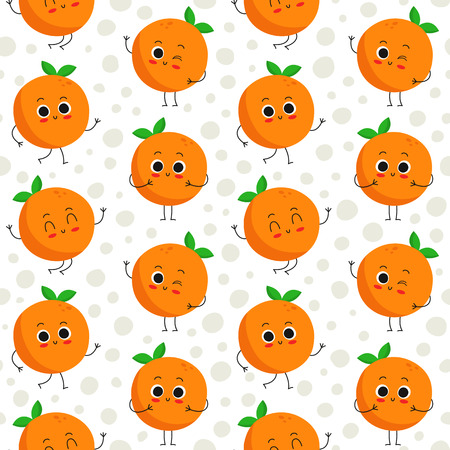 Oranges, vector seamless pattern with cute fruit characters on dotted background
