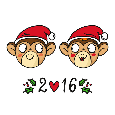 chinese holly: Monkey couple in Santas hats, chinese new year 2016 symbol, cute vector animal characters isolated on white
