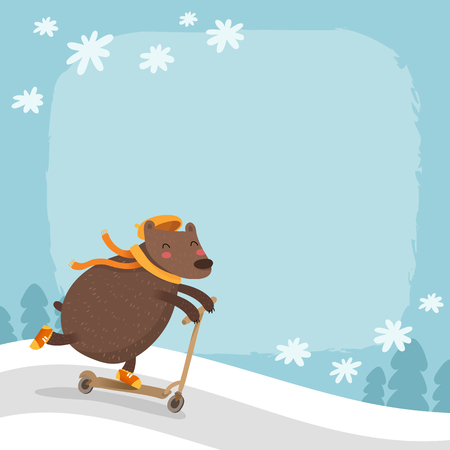 snowy hill: Vector bear riding a scooter, winter background with snowy hill, falling snowflakes, trees and space for text