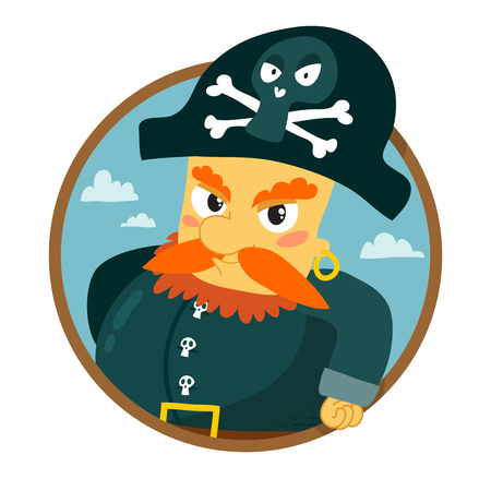 angry sky: Funny vector redhead pirate character round badge isolated on white