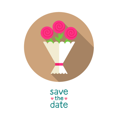 Wedding bouquet with pink roses, modern flat style round vector icon, save the date card template Illustration
