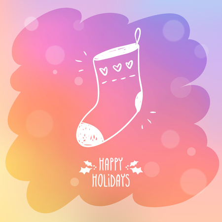 misted: Sketchy sock for gifts on misted window glass with bokeh and holiday greetings, cute vector Christmas and New Year greeting card background design template