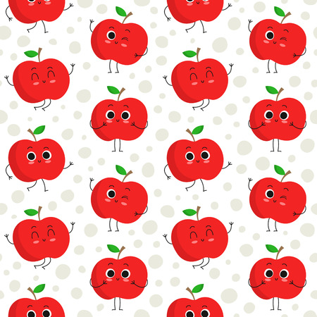 Apples, vector seamless pattern with cute fruit characters on dotted background
