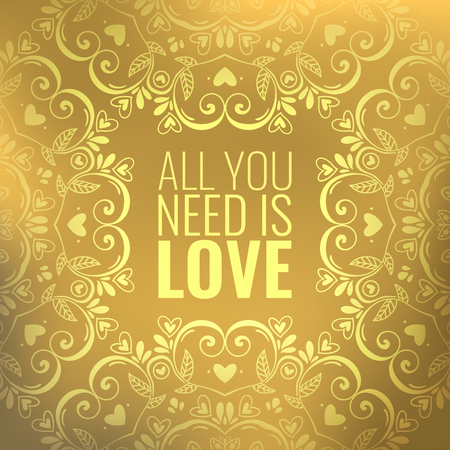 Beautiful golden abstract vector background with mandala ornament and quote about love, Valentines Day romantic card design template