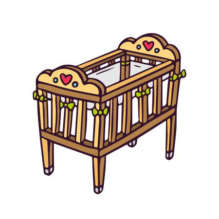 Baby crib, bright vector children illustration of newborn's cot isolated on white