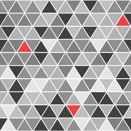 accents: Geometrical vector seamless pattern with triangles in shades of gray with red accents Illustration