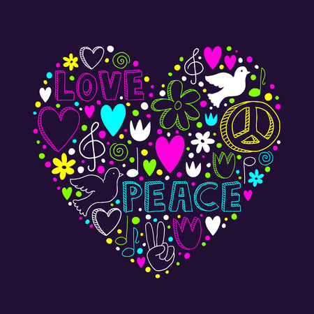 Vector neon doodle elements on love and peace theme in heart shape on dark purple background - hearts, flowers, doves, music notes, peace sign, victory hand and cute lettering