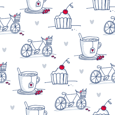 romance: Vector seamless pattern with sketch cups, bicycles, cupcakes and hearts isolated on white - love, dating and romantic picnic theme