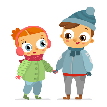 brother and sister cartoon: Boy and girl in winter clothes holding hands isolated on white