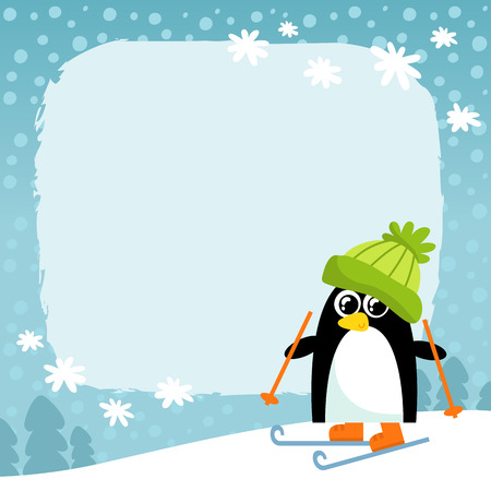 Vector penguin in green hat on winter snowy background, cute cartoon animal character, Christmas and New Year holiday greetind card design template with space for text Illustration