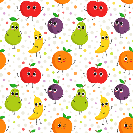 Cute vector seamless pattern with happy fruit characters on dotted background