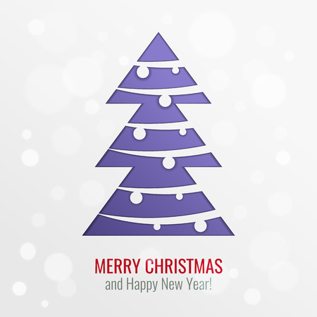 paper cut out: Bright paper cut out vector Christmas tree with ball decorations, holiday greeting card design background with purple tree, bokeh and seasonal wishes Illustration
