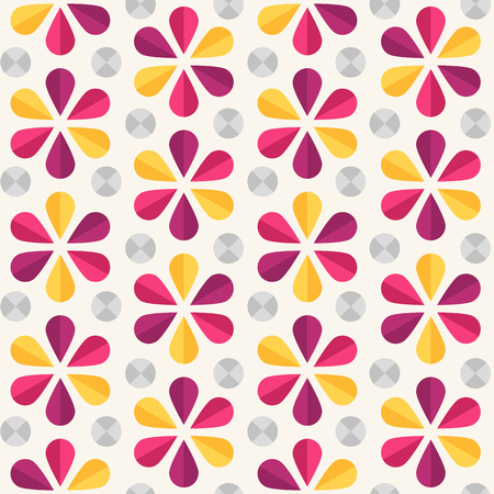 60s: Vector abstract seamless pattern with bright origami flowers and dots, 60s vintage retro style Illustration