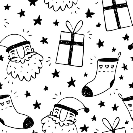 drawing: Christmas and New Year seasonal sketchy vector seamless pattern with Santa Claus, socks, gifts and stars doodles in black and white