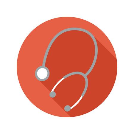 phonendoscope: Medical phonendoscope vector flat style icon on round badge with long shadow