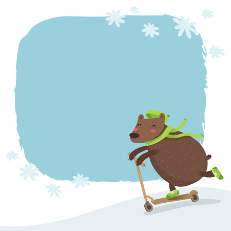 snowy hill: Vector bear riding a scooter, winter background with snowy hill, falling snowflakes and space for text
