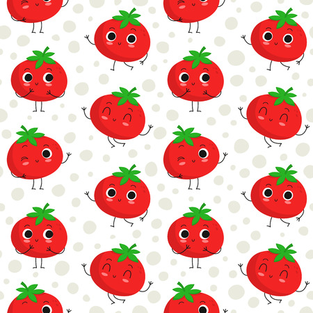 Tomatoes, vector seamless pattern with cute vegetable characters on dotted background Illustration