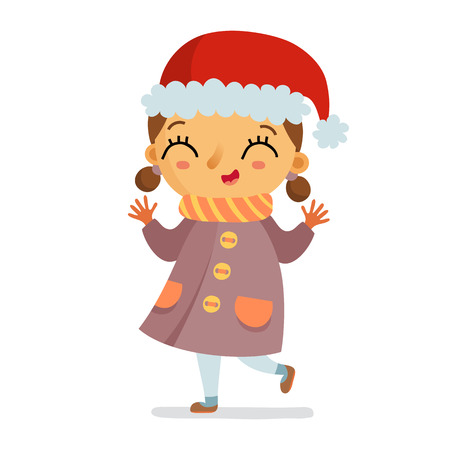 winter girl: Happy girl character in winter coat and Santa hat cheering isolated on white