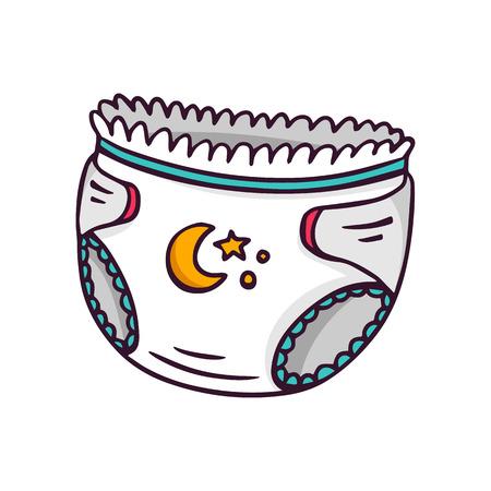 Baby diaper, bright children illustration of newborn absorbing underwear isolated on white  イラスト・ベクター素材