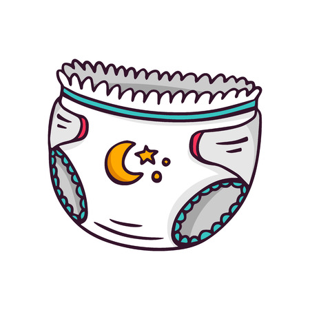 Baby diaper, bright children illustration of newborn absorbing underwear isolated on white Vettoriali