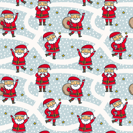 brigth: winter seamless pattern with cute cartoon Santa Claus characters and stars on snowy background, Christmas and New Year holiday wallpaper and wrapping paper design