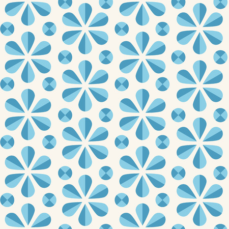 60s: abstract seamless pattern with blue origami flowers and dots, 60s vintage retro style