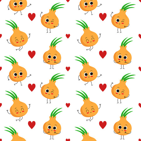 onions: Onions, seamless pattern with cute vegetable characters and hearts isolated on white