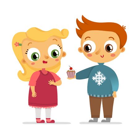 dar un regalo: Personajes muchacho da a muchacha de la magdalena, aislados en blanco Vectores