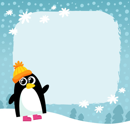 penguin in orange hat on winter snowy background, cute cartoon animal character, Christmas and New Year holiday greetind card design template with space for text