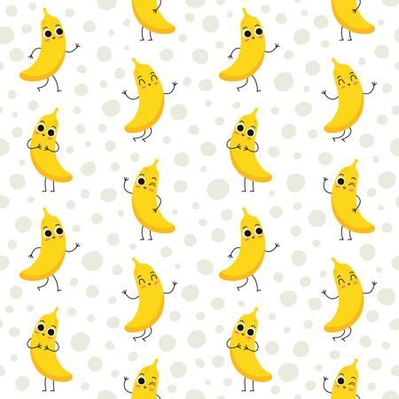fruit: Bananas, seamless pattern with cute fruit characters on dotted background