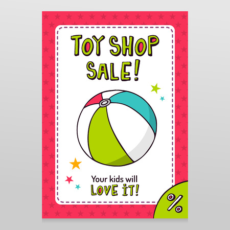 Toy shop bright vector sale flyer design with striped toy ball isolated on white with pink starry pattern background Illustration